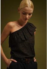 Soeur One Shoulder Eyelet Blouse