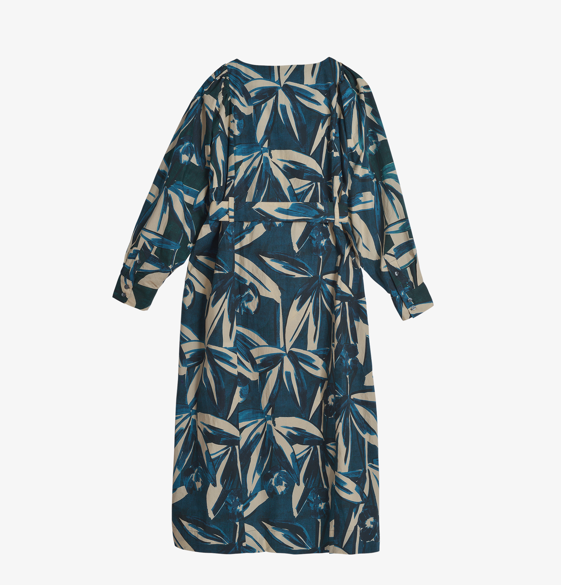 Soeur Abstract Floral Balloon Sleeve Dress