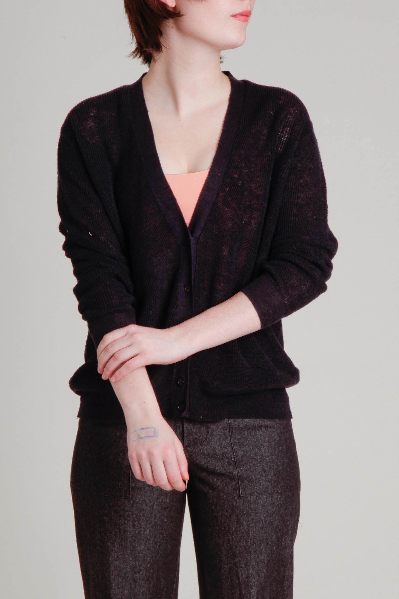 Demy Lee Linen Navy Cardigan