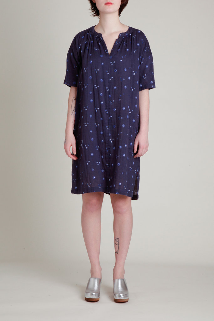 Xirena Printed V-Neck Cotton  Double Gauze Dress