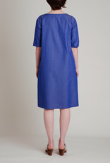 A. Cheng A. Cheng A-Line Shift Dress in Blue and White Cotton