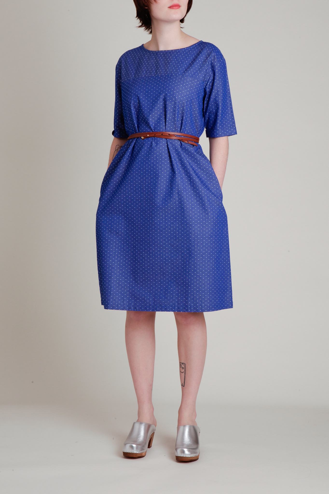 A. Cheng A-Line Shift Dress in Blue and White Cotton