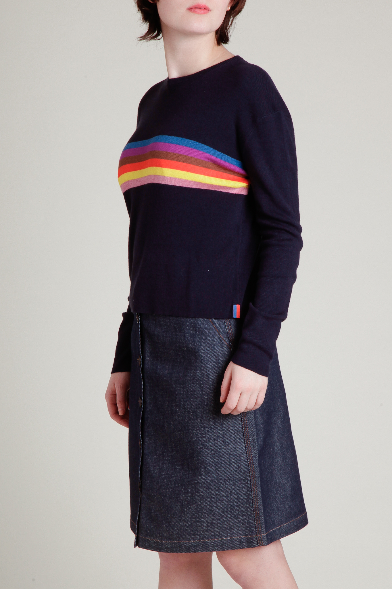 KULE Rainbow Striped Cashmere Blend Sweater
