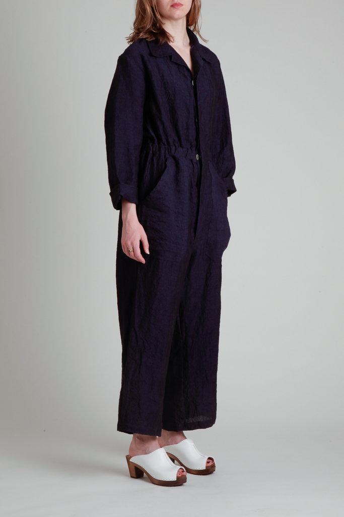 Moskiddos Nico Long Sleeve Navy Linen Jumpsuit