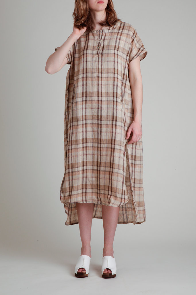 Moskiddos Moskiddos Short Sleeve Linen Dress in Brown Tonal Plaid