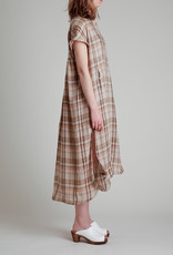 Moskiddos Moskiddos Short Sleeve Linen Dress in Brown Tonal Plaid