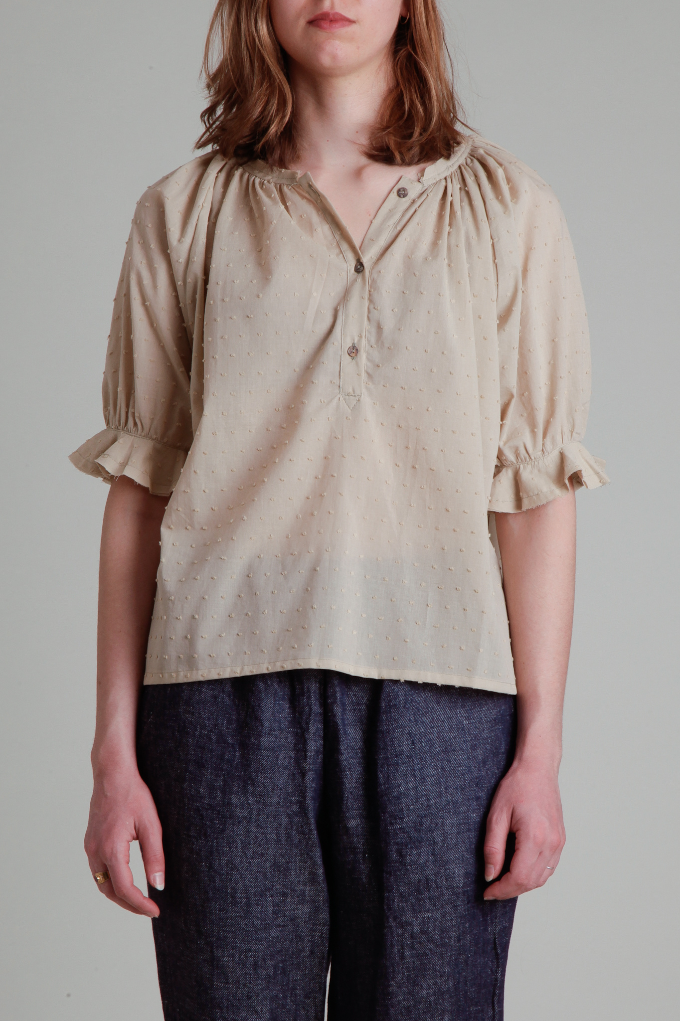 Moskiddos Moskiddos Beige Swiss Dot Cotton Blouse