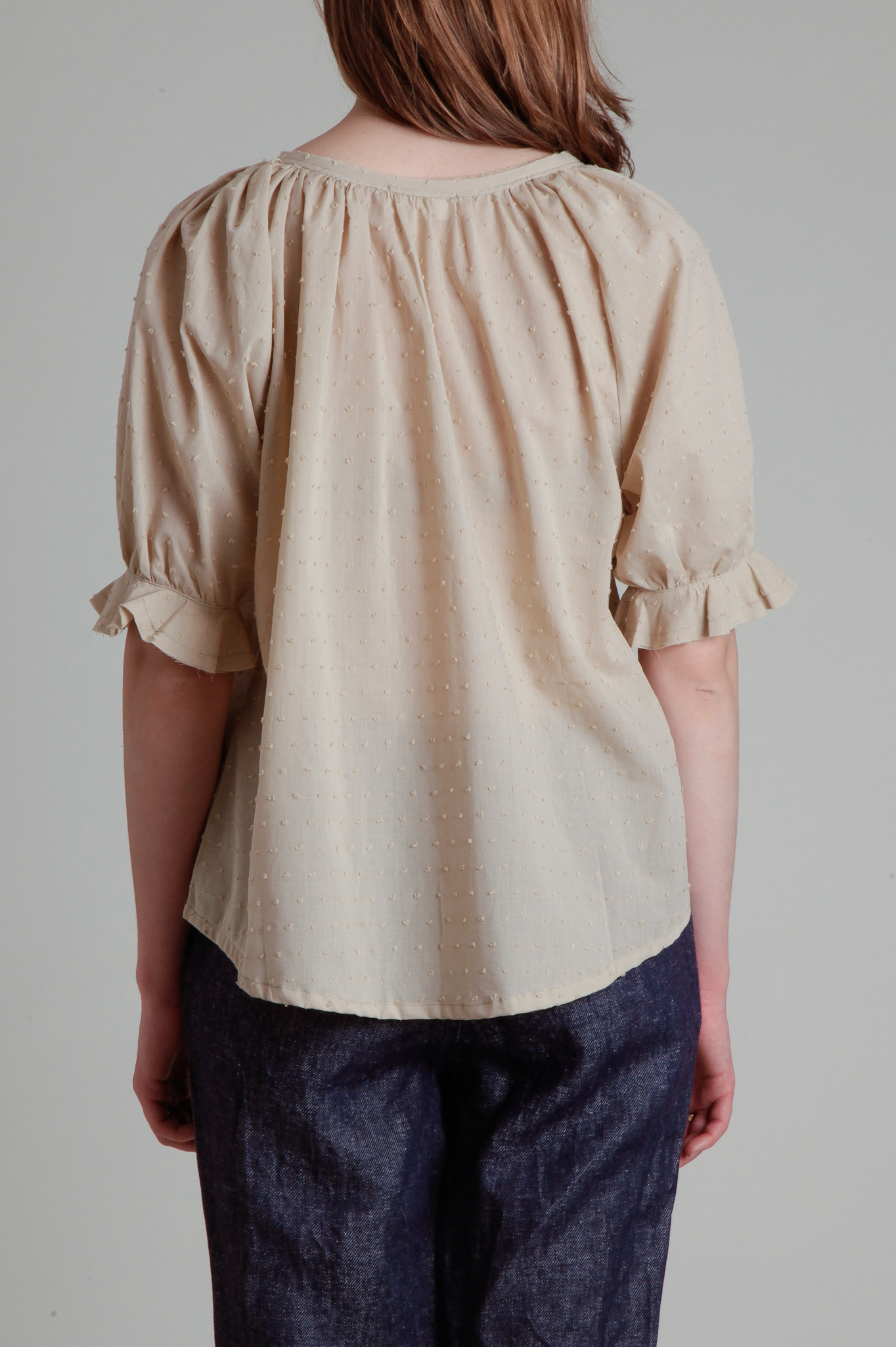 Moskiddos Beige Swiss Dot Cotton Blouse with Puff Sleeves