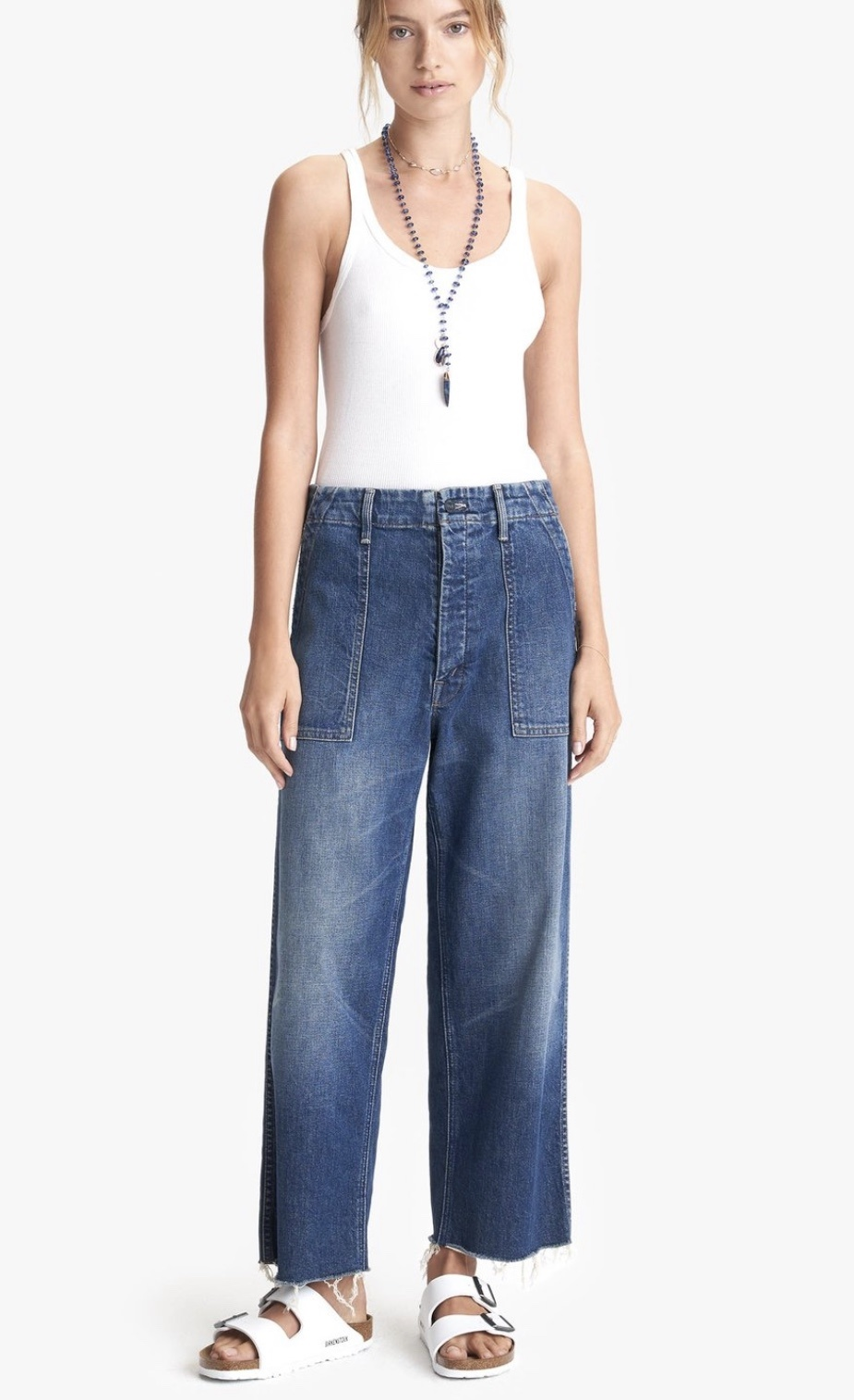 Mother Mother Patch Pocket Zip Ankle Fray