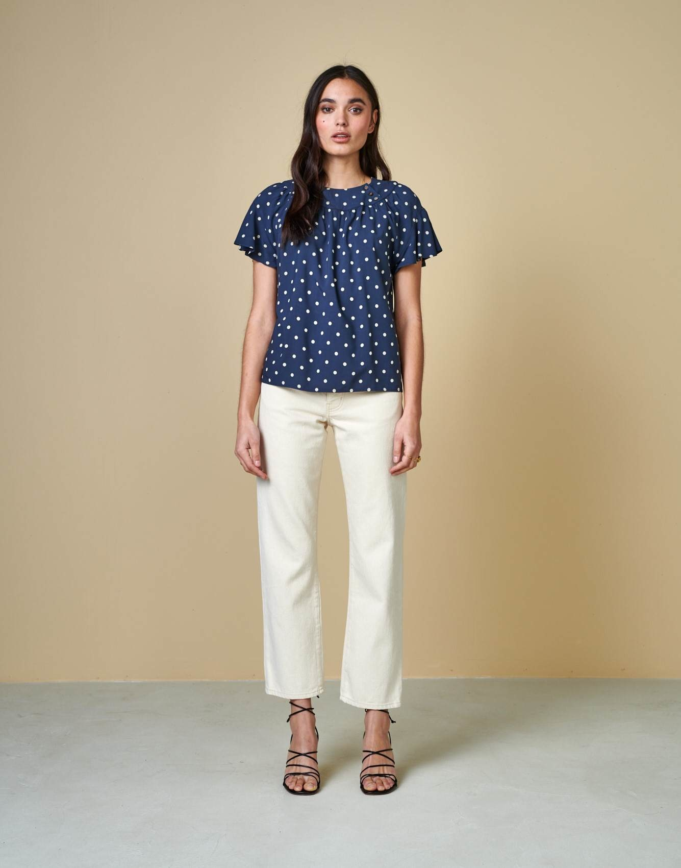 Bellerose Navy polka dot flare sleeve blouse - Amoke Top