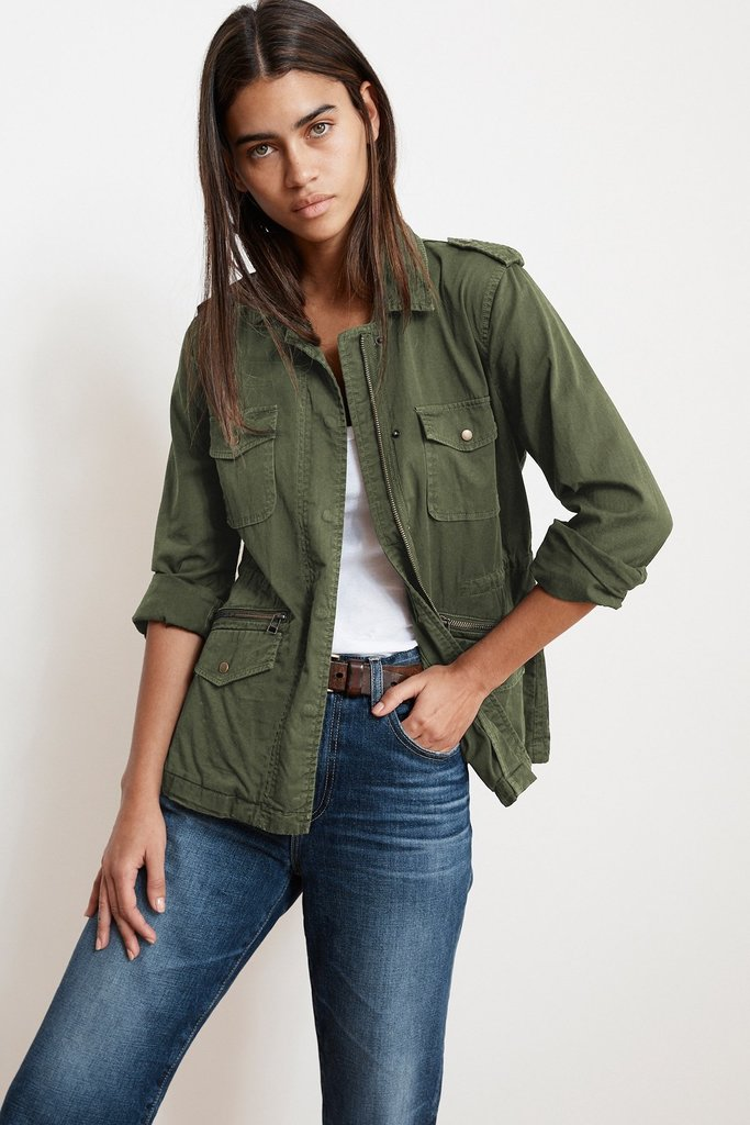 Velvet Faded Green  Cargo Jacket
