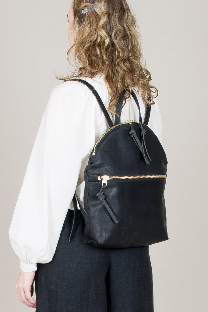 Anni Large Backpack Front Zip - Black