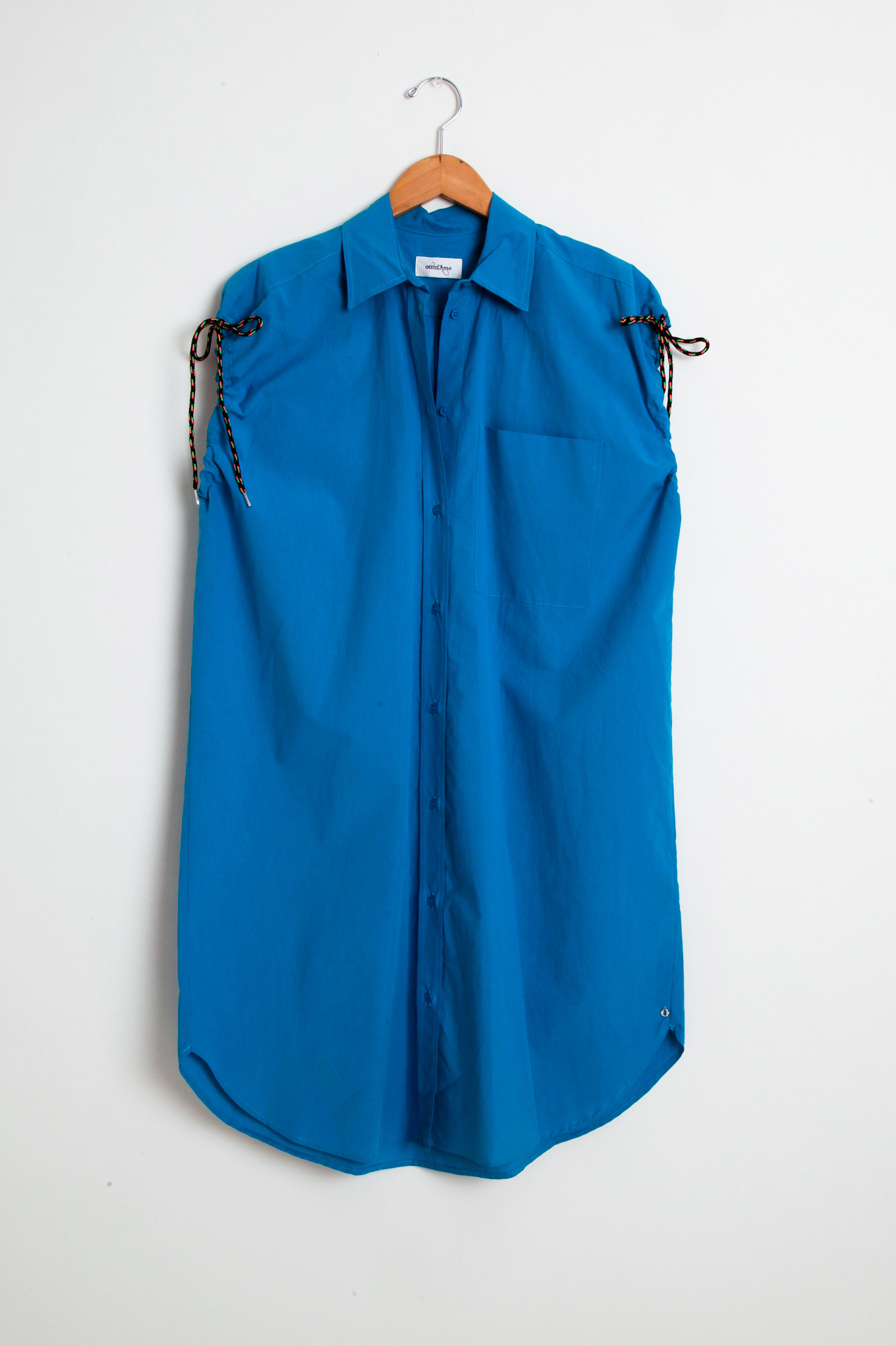 Otto d'Ame Turquoise Sleeveless Shirt  Dress