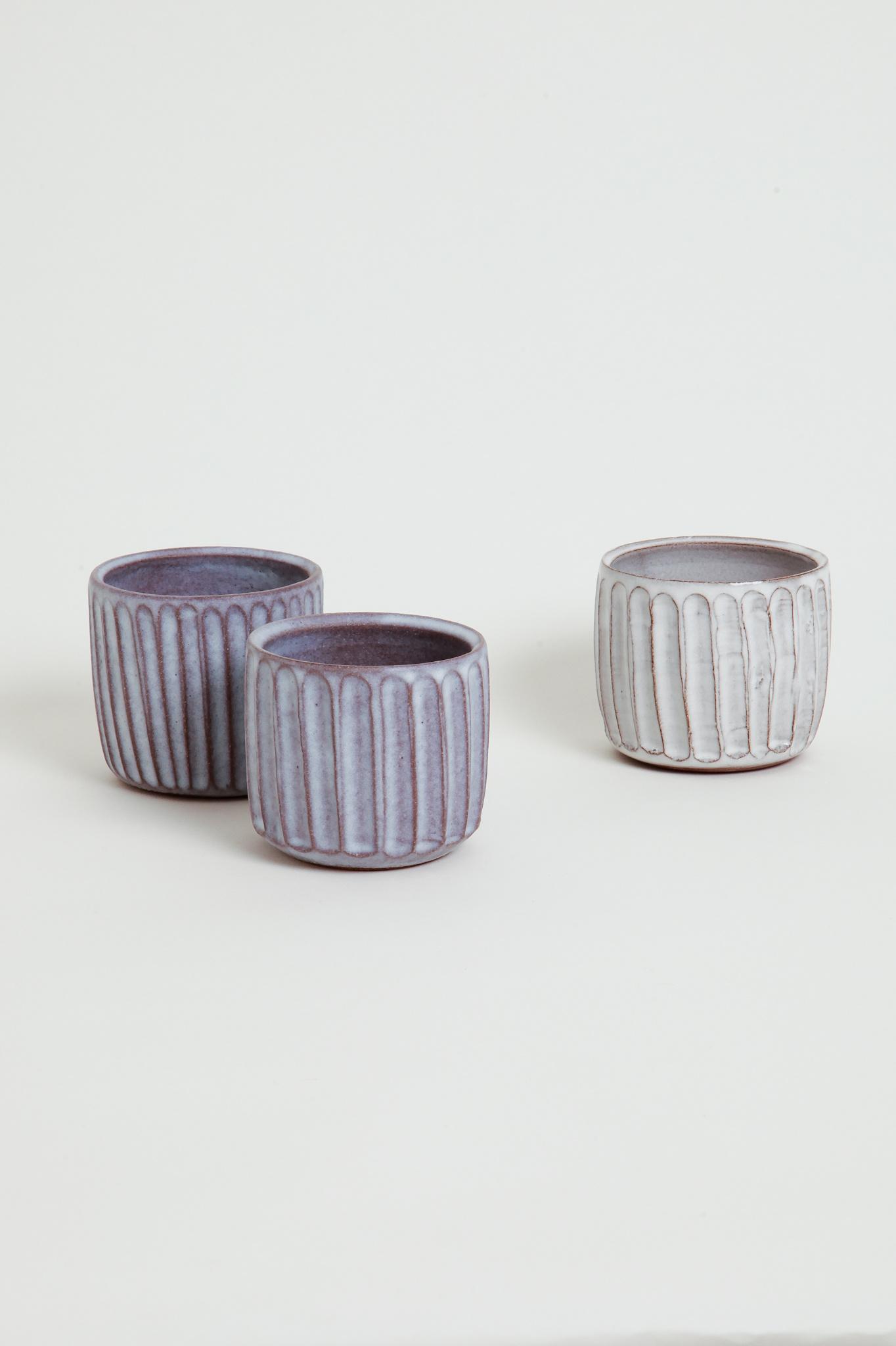 Alice Cheng Studio carved ceramic cups