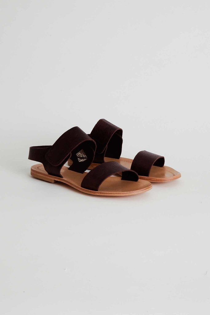 Monica Cordera Monica Cordera Dark Brown Ankle Strap Flat Sandals