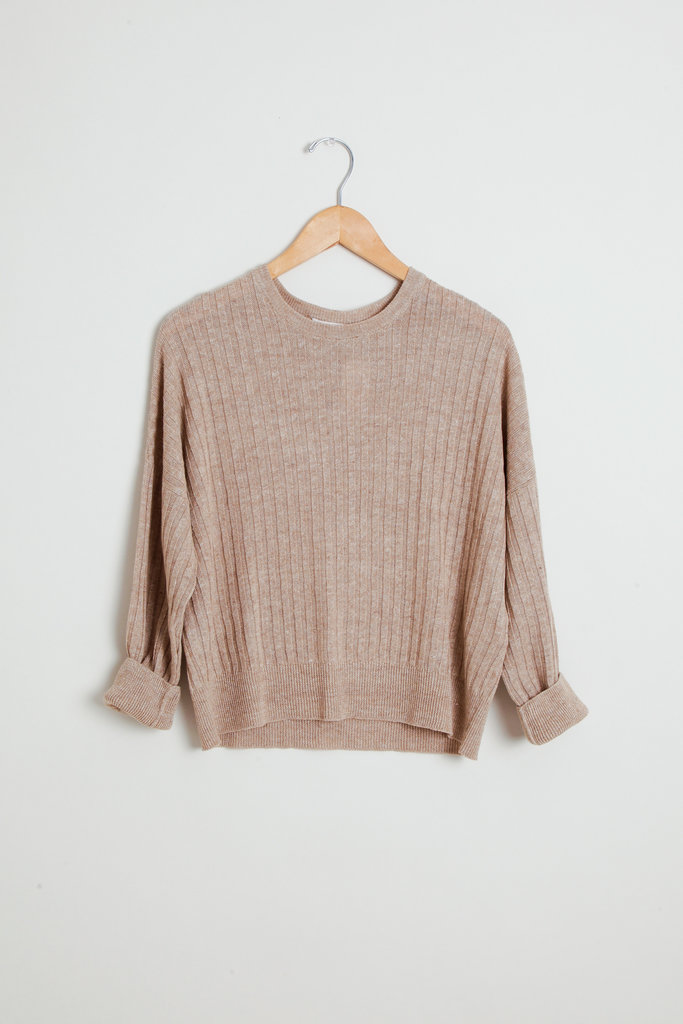 masscob Linen Ribbed Loose Sweater