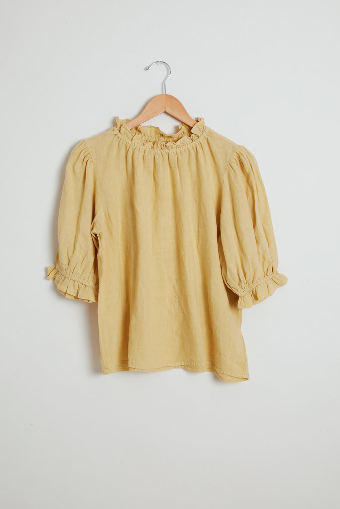 Velvet Vintage style blouse with ruffle detail