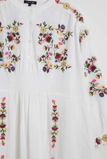 Soeur Long Off-White Embroidered Cotton Dress