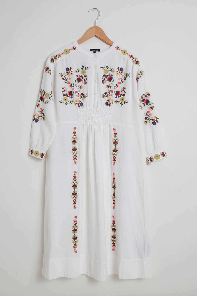 Soeur Soeur Long Off-White Embroidered Cotton Dress