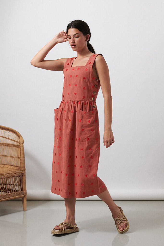 Sideline Embroidered Apron Dress