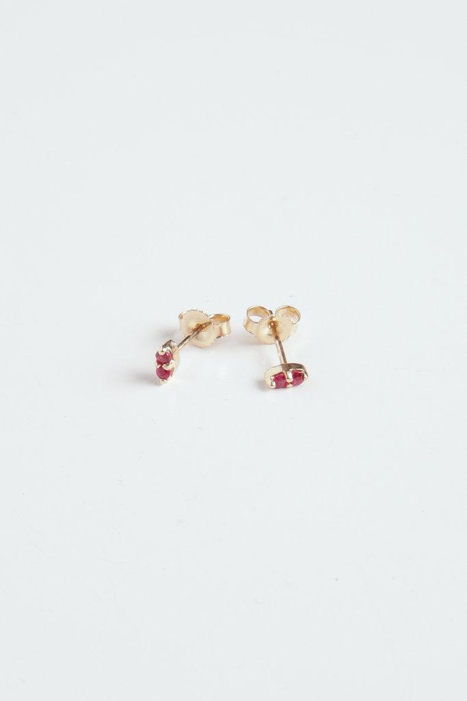 Gjenmi Gjenmi Double Ruby Studs