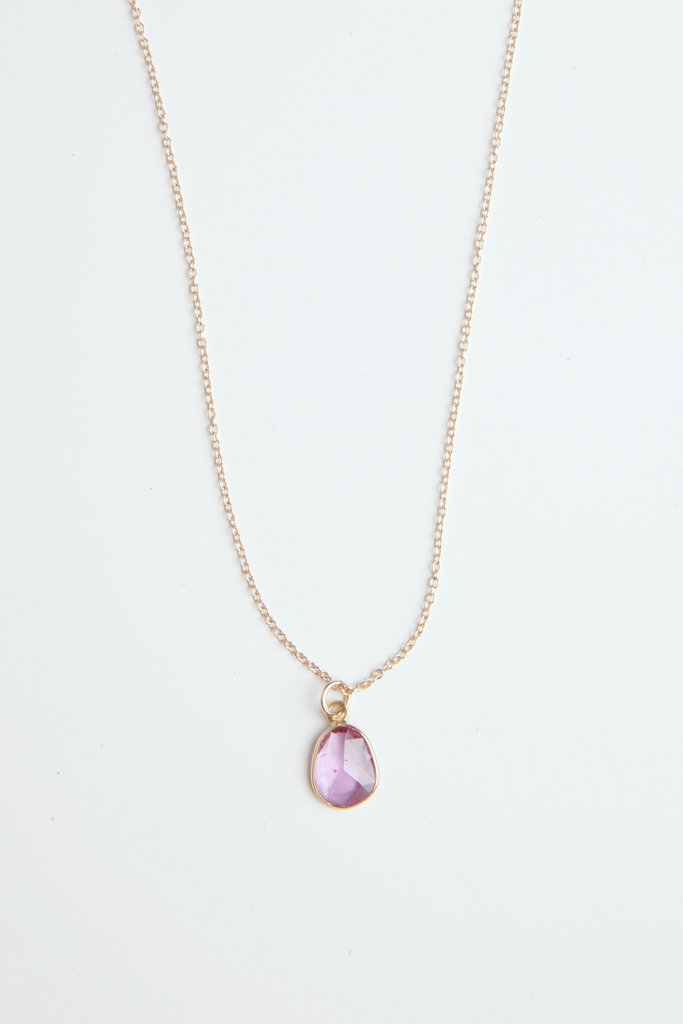Pink Sapphire Slice Necklace