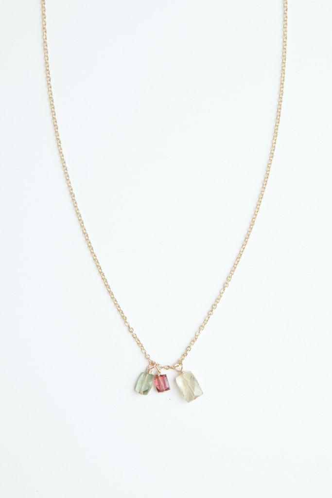 Sticks and Stones tourmaline trio  gold necklace