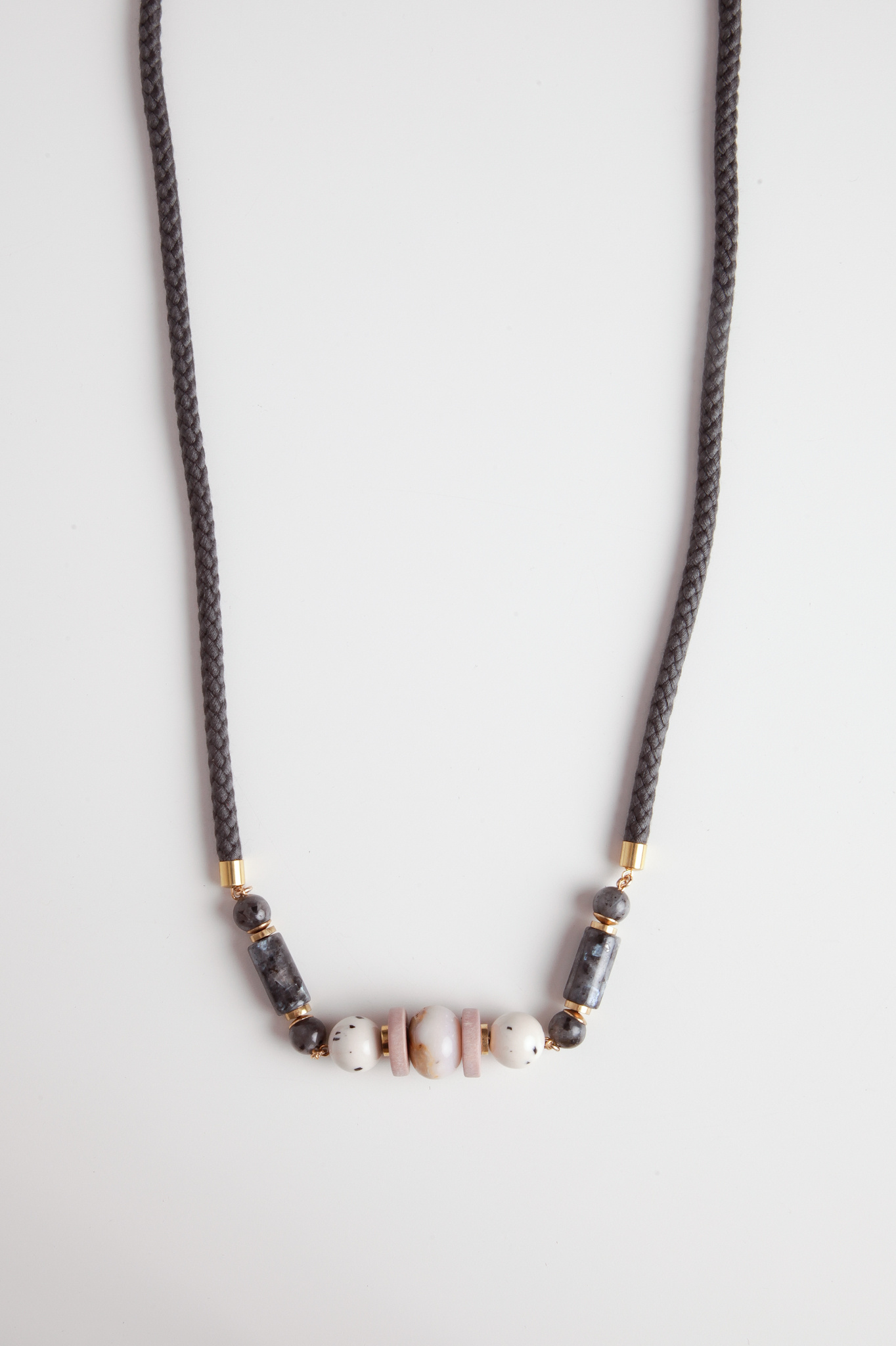 Braided Rope and Stone Necklace