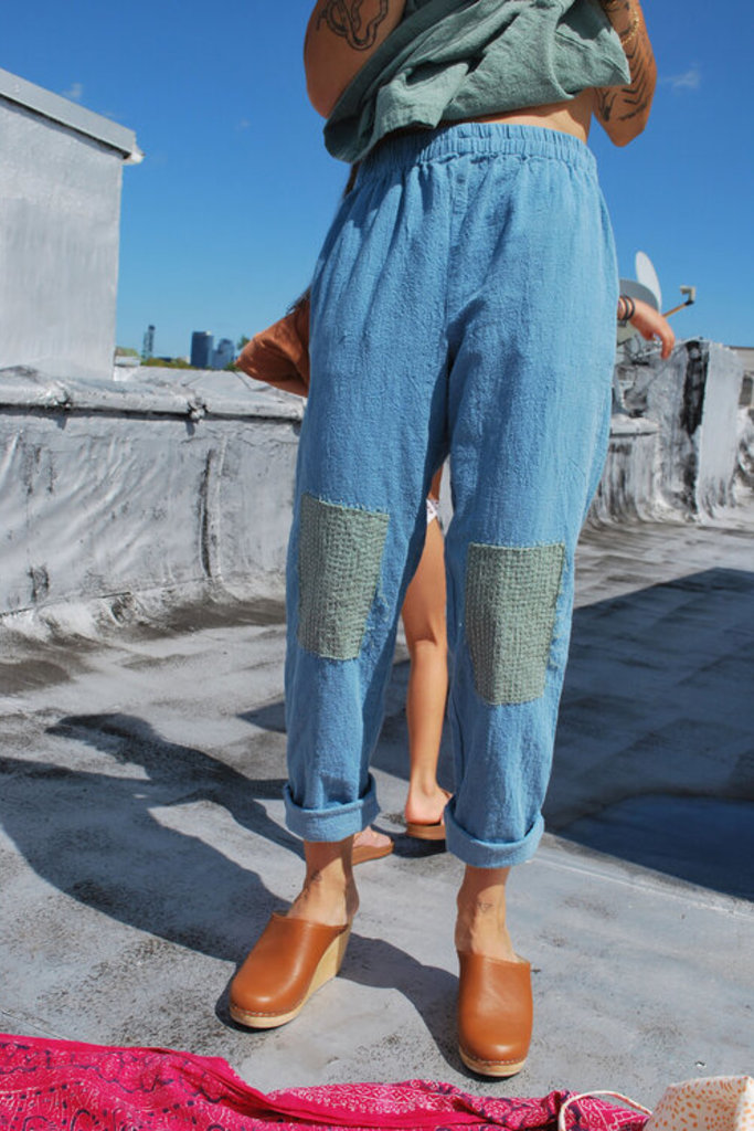 Relaxed Indigo Cotton Pants with Knee Patch