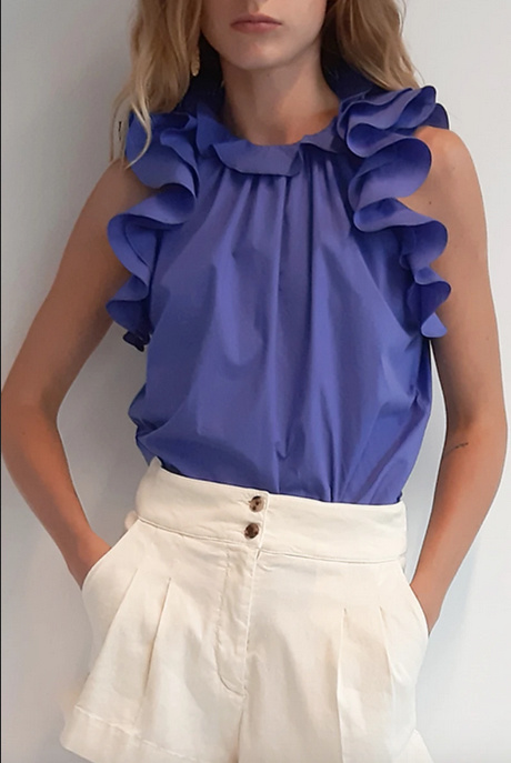 vanessa Bruno Vanessa Bruno Neel Cobalt Blue Ruffled Sleeveless Blouse