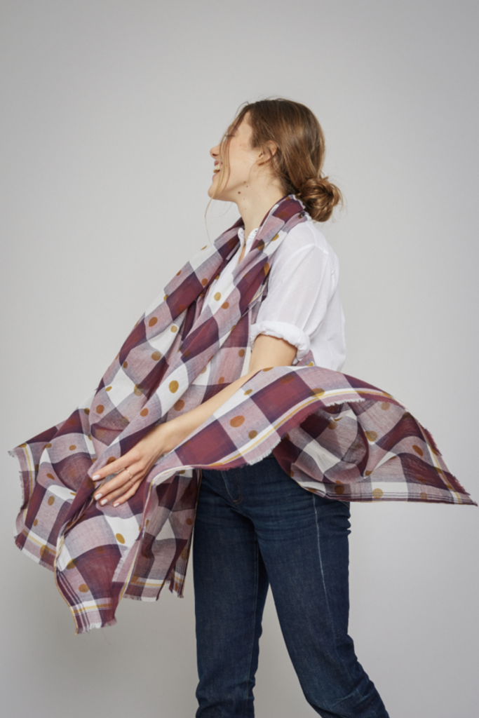 Mois Mont Mois Mont Checkered Plum Scarf