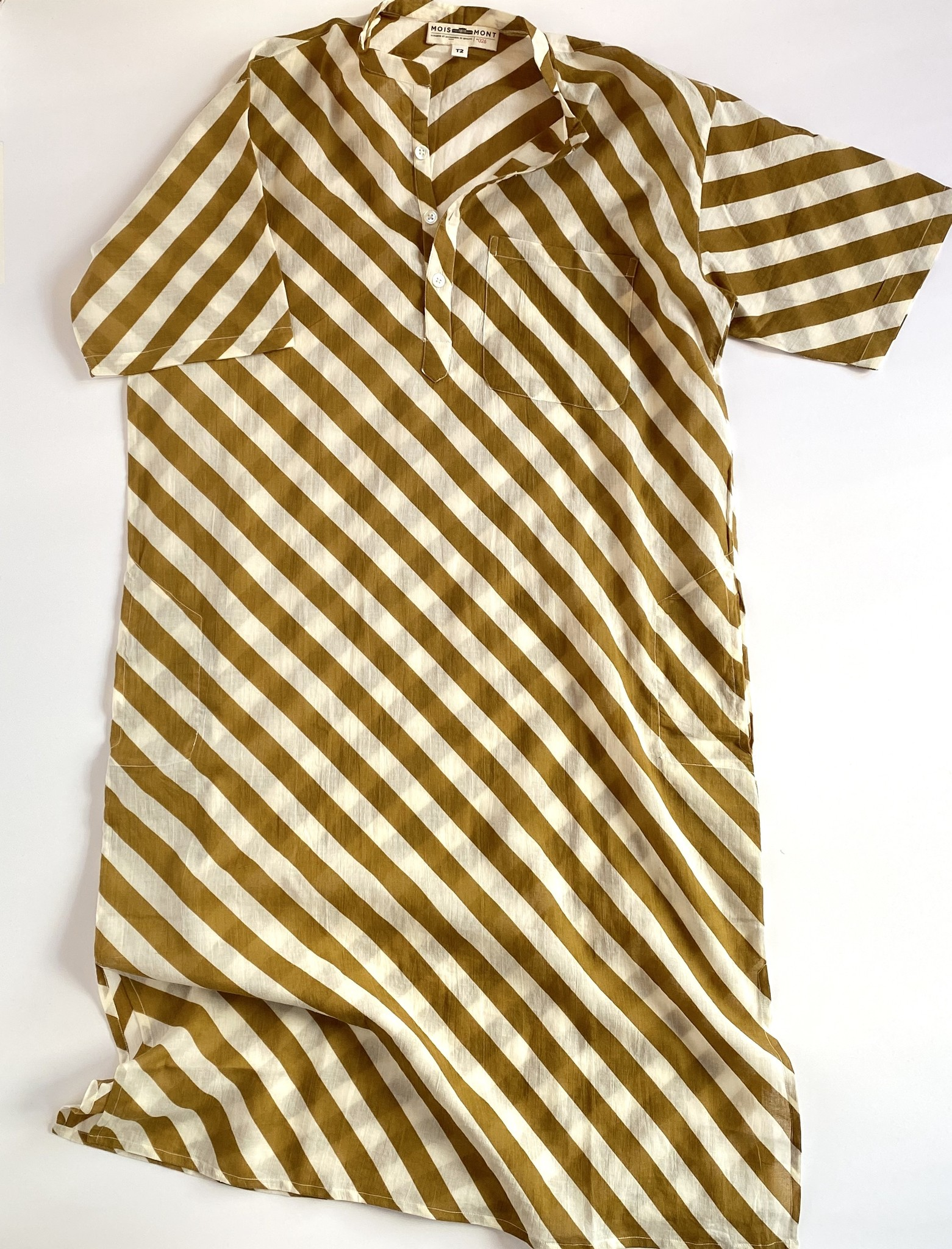 Mois Mont Mois Mont Tunic Dress in Wide Stripes