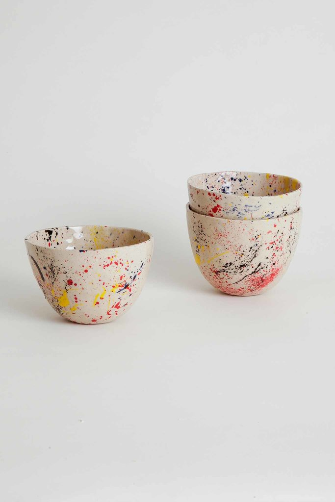 Alice Cheng Studio Handmade Ceramic Bowl Splatter Print