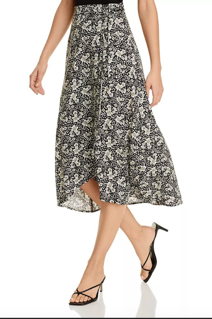 Velvet Printed wrap skirt with side tie