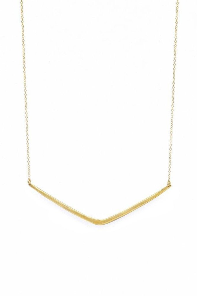 Brass Chevron Pendant Necklace on Gold Fill Chain