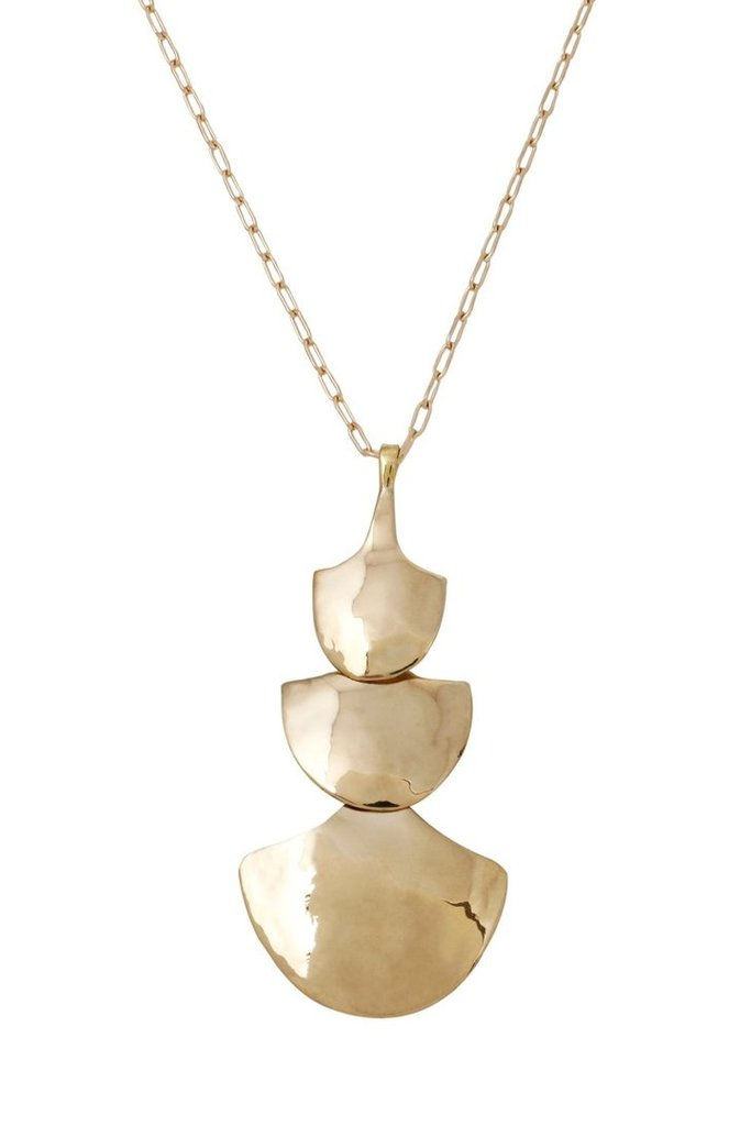 Brass Pendant Necklace on Gold Fill Chain