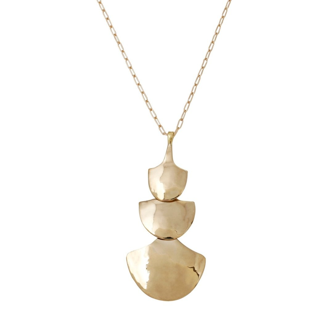 Marisa Mason Brass Pendant Necklace on Gold Fill Chain