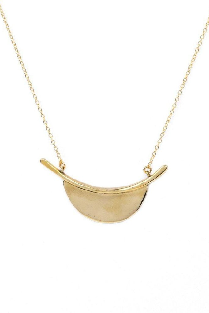 Long Modern Brass Pendant on Gold Fill Chain