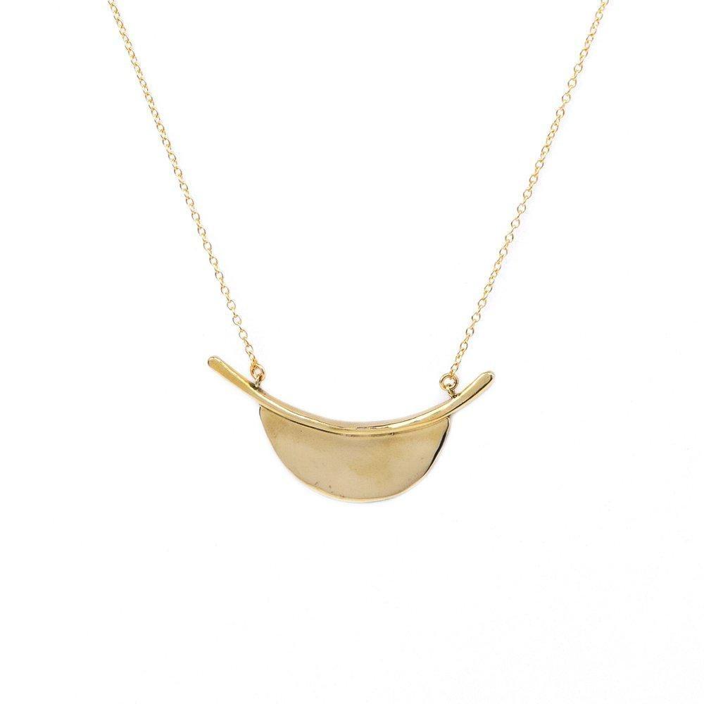 Marisa Mason Long Modern Brass Pendant on Gold Fill Chain