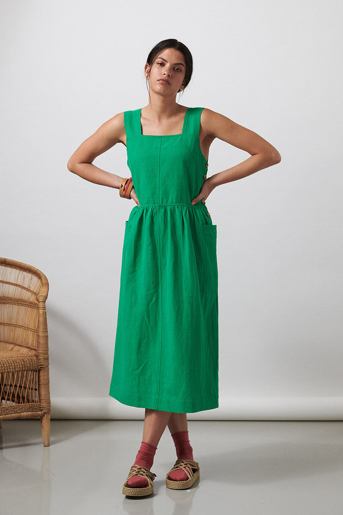 Shore Cotton Dress in Leaf Green
