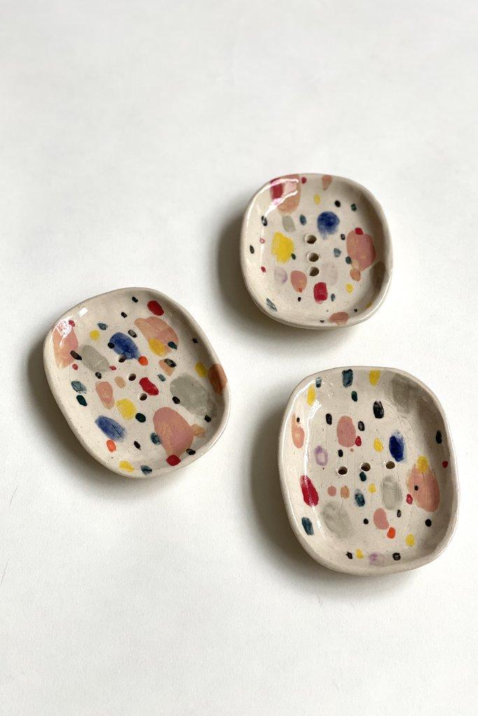 Alice Cheng Studio Hand Painted Soap Dish Confetti