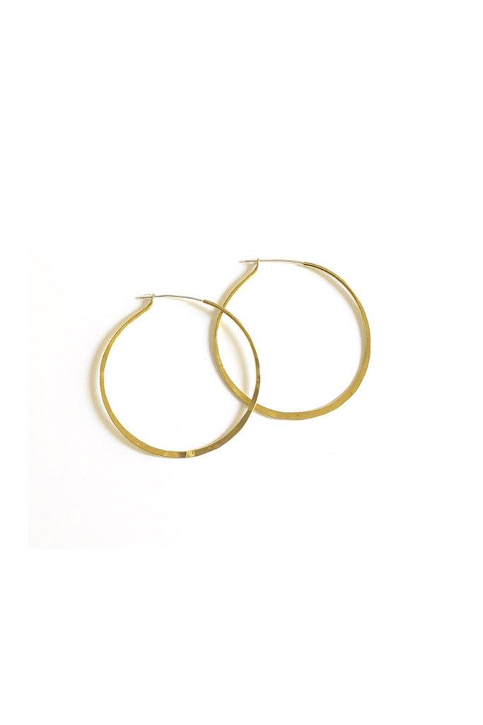 Large Hammered Brass Hoop Earrings