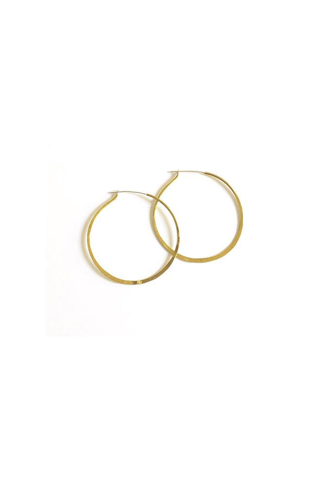 Medium Hammered Brass Hoop Earrings