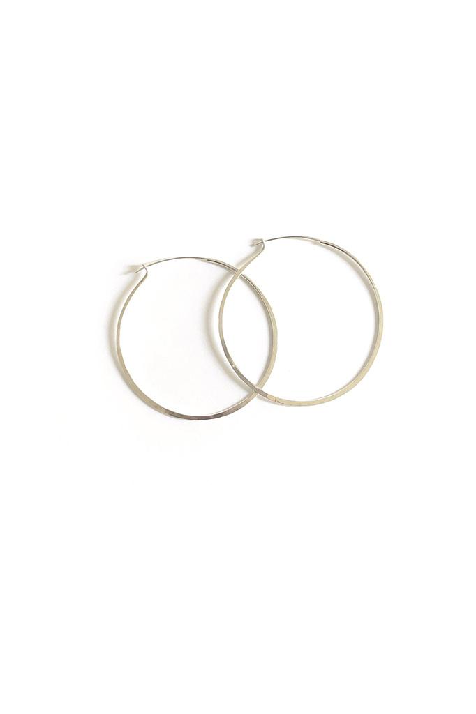 Marisa Mason Large Hammered Sterling Silver Hoop Earrings
