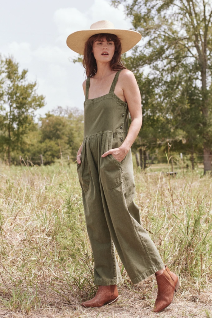 Cropped Wide-Leg Cotton Jumpsuit with Adjustable Straps