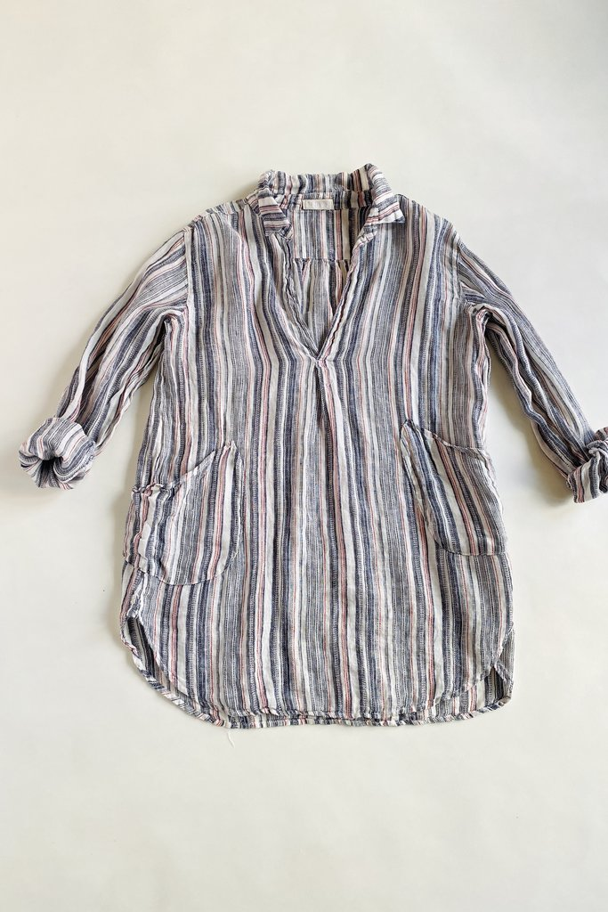 teton grey striped  Tunic