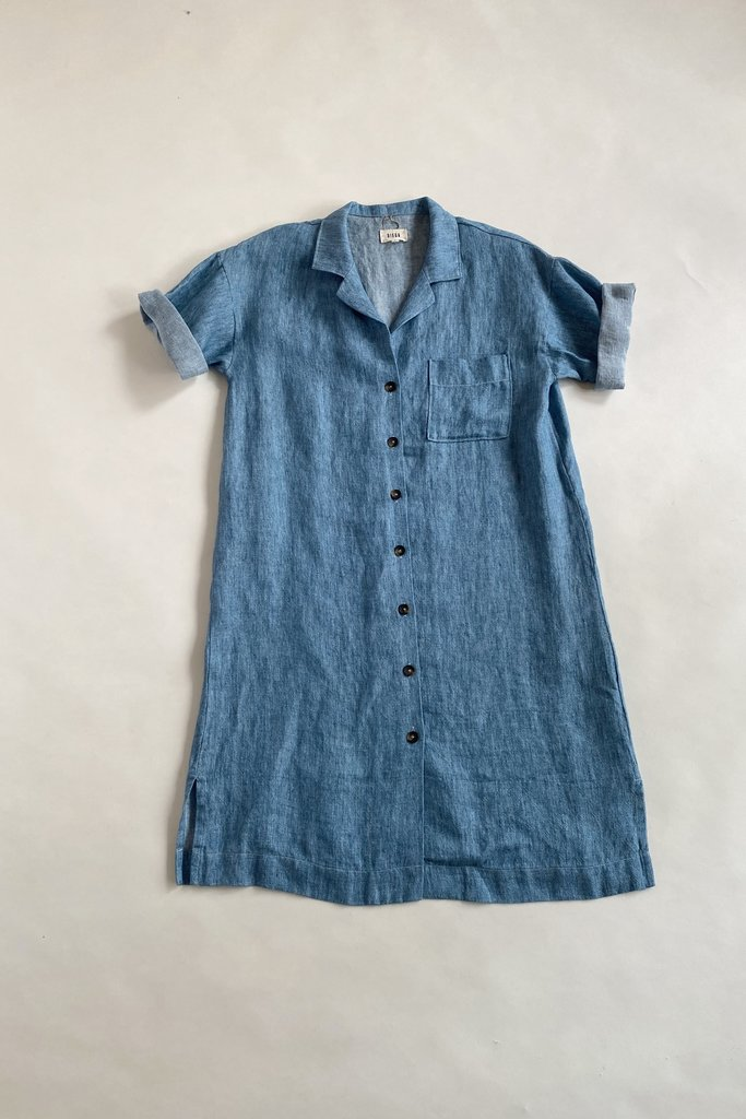 Diega Diega Ricita Blue Linen Dress