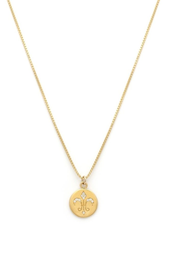 Leah Alexandra Gold Plated Fleur de Lis Necklace