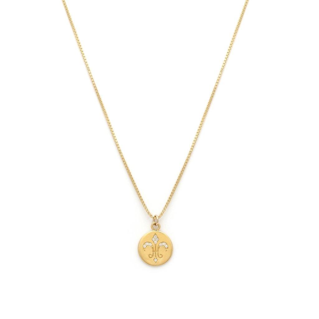 Leah Alexandra Gold Plated Fleur de Lis Necklace