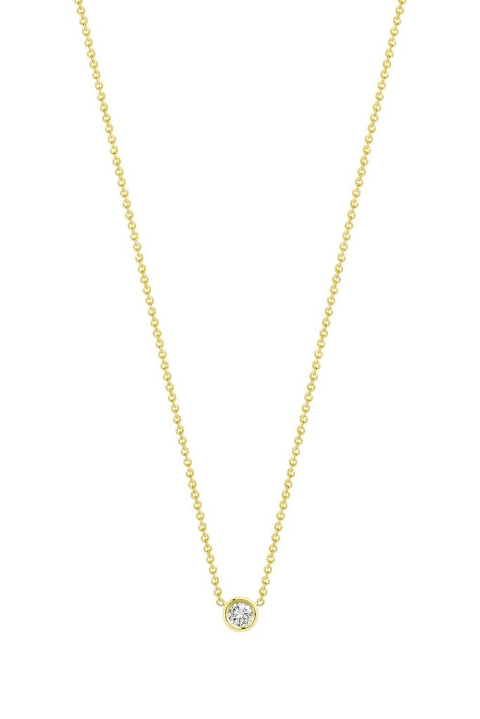 Hortense Hortense Flirty Necklace White Diamond Solitaire on 14KT Gold Chain
